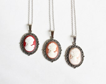 Small Cameo Necklace (Red and Salmon)