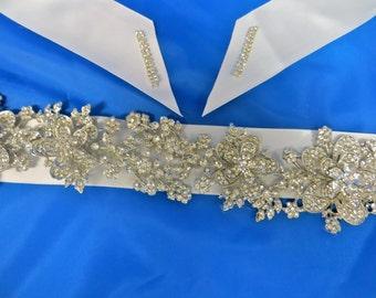 Rhinestone Bridal  Sash, Wedding Gown Accessory,  Bridal Crystal Sash, Rhinestone Bridal Belt