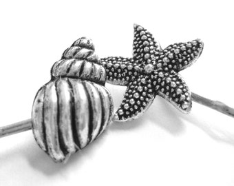 Beach Theme Wedding Hair Clips - Silver Seashell Bobby Pins - Starfish Bobbypins -Hair Pins