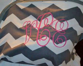 Grey and White Chevron Adult Arm Sling with Monogram