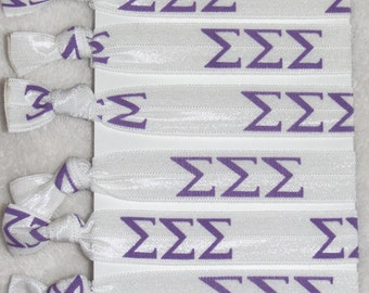 Set of 6 ready-made Sigma Sigma Sigma sorority Hair Ties FOE stretch foldover fold over elastic