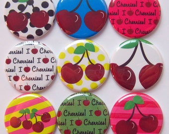 Cherry Magnets - Set of Nine 1.25 Inch Button Magnets Packaged in a Custom Box