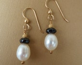 White Pearl Earrings, 30% OFF, Black Tourmaline, Black & White Earrings, Artisan Earrings, Freshwater Pearls, Gold Filled Earwires, BE868