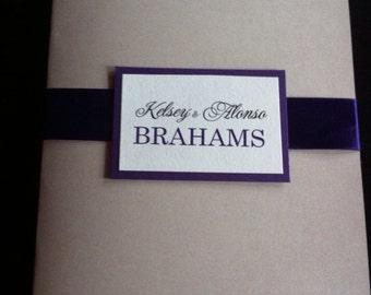 Ivory, shimmery silver, deep purple WEDDING PROGRAM