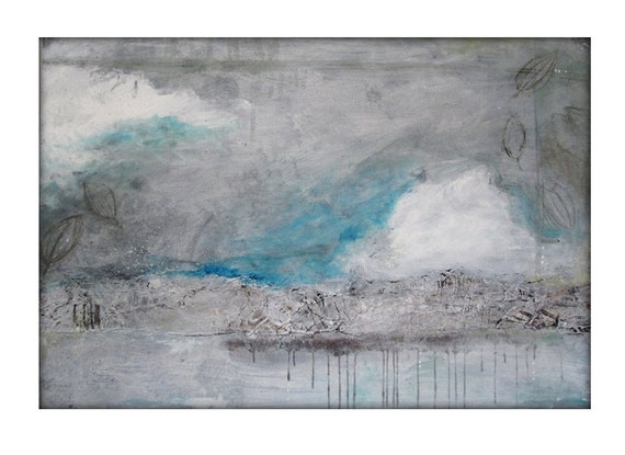 Original Abstract Mixed Media Acrylic Modern Painting on Canvas - 24x36 White, Turquoise, Brown
