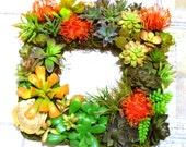 Faux Succulent Square Wreath for Autumn, Square Artificial Succulent Fall Wreath, Succulent Wedding Wreath