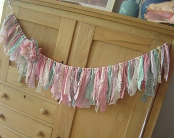 Shabby Torn Banner - Pinks, greens, blues, creams, lace and tulle