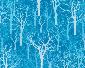 Winter Blues from Fabri-Quilt - Turquoise/Aqua Blue Mystical, Magical, Bare Winter Trees Quilt Fabric