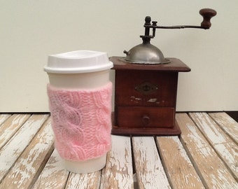 Coffee Cup Sleeve, Coffee Mug Cozy - Cable Knit Coffee Cup Cozy in Light Pink