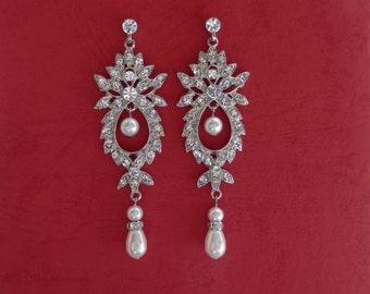 Bridal Chandelier Earrings 3.5in long Party Earrings Bridesmaids Earrings (E3143)