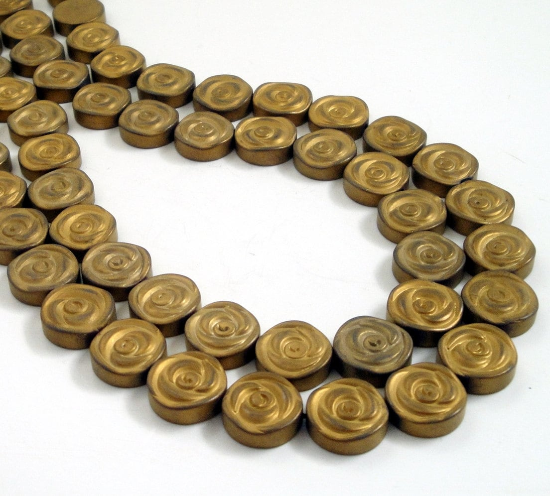 Coin Beads Hema... Gold Hematite Beads