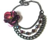 Purple Flower Necklace, Statement Necklace, Vintage Inspired, Jewelry Set, Gunmetal, Multi Chain