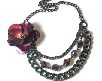Purple Flower Necklace, Statement Necklace, Vintage Inspired, Jewelry Set, Gunmetal, Multi Chain