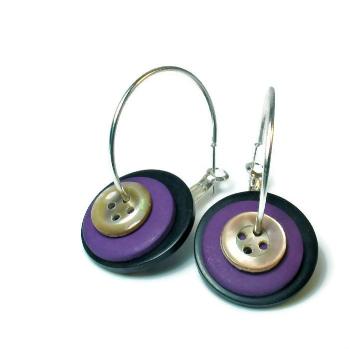 Button Earrings: Cute Upcycled Purple Button Earrings Hoop Repurposed Jewelry
