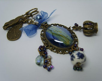 Alice In Wonderland antique look brooch - ooak,blue,indigo,fantasy,fairy tale