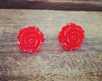 Vintage gorgeous red rose post stud earrings pinup bridal brides maid accessories