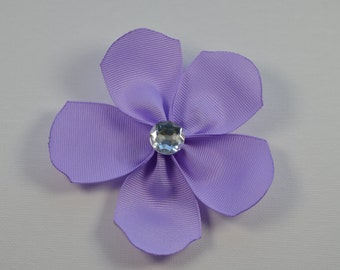 Purple large flower alligator hair clip with clear bling faceted rhinestone