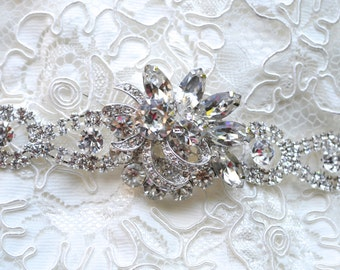 Rhinestone Bridal Sash,Wedding Sash,Wedding Belt,Bridal Belt,Vintage Diamante Belt,Eisenberg Ice Brooch,Something Old Something New