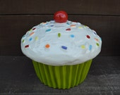 Lime Green Cupcake Cookie Jar or Canister with Rainbow Sprinkles - Ready to Ship