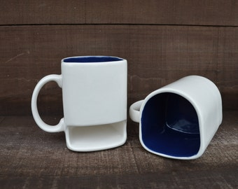 White with Navy Blue - Ceramic Cookies and Milk Dunk Mug with Cookie Shelf - Ready to Ship
