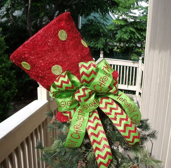Santa Hat Christmas Tree Topper: Red And Lime Top Hat Tree Topper XL Lighted Tree Topper Bow