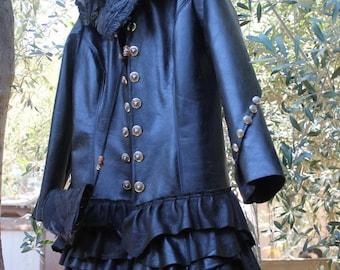 showdiva designs Distressed Black Leather Military Inspired Coat Asymmetrical Ruffles Shearling Detach Collar n Bag