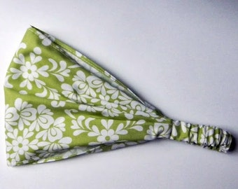 Yoga Headband Cotton Bandana - Lila Tueller for Riley Blake, Priscilla, Ball in Green fabric