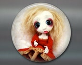 gothic doll fridge magnet, large magnet, kitchen decor, gift for doll collector, gothic art decor, housewarming gift art magnet MA-AD63