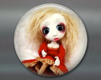 "3.5"" gothic doll fridge magnet, large magnet, kitchen decor, gift for doll collector, gothic art decor, housewarming gift art magnet MA-AD63"