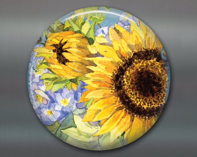 "3.5 "" sunflower magnet, hand painted sunflower art, country kitchen decor, large fridge magnet, sunflower decor, decorative magnet MA-351"