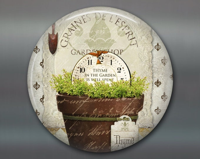 Refrigerator Magnets, thyme fridge magnet, hand painted herbs art magnet, country kitchen decor, gift for gardener, rustic decor MA-1623