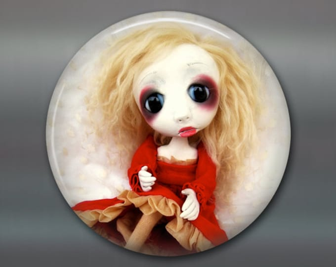 """3.5"""" gothic doll fridge magnet, large magnet, kitchen decor, gift for doll collector, gothic art decor, housewarming gift art magnet MA-AD63"""