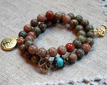 Autumn Jasper Yoga Wrap Bracelet with Tree of Life, Om, Peace Sign Charms Mala Meditation