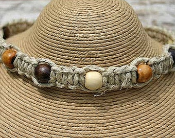 Surfer Phatty Thick Hemp Necklace With Wood Beads