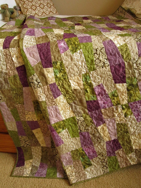 Patchwork Quilt Purple And Green