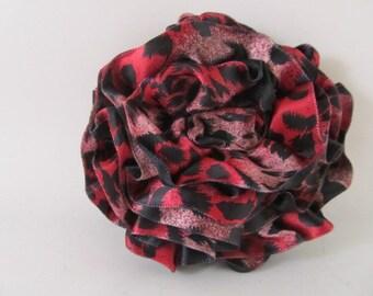 Ribbon Rose Pin-Hair Clip-Brooch-Pink and Black-Satin-Leopard
