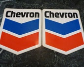 2 Chevron Oil Co Peel and Stick Decal  11 X 9 inch for gas pump sticker bc1