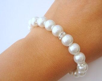 Glamour Pearl Bridal Bracelet, Pearl Bridal Jewelry, Wedding Jewelry, Pearl Bridesmaid Bracelet
