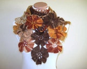 Rustic Brown Shawl - Fall Fashion Cinnamon Brown Flower Floral Triangle Accessories - Gift for Her for Mom - Ready for Shipping Autumn Trend