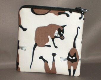 Cat Siamese Coin Purse - Gift Card Holder - Card Case -Small Padded Zippered Pouch - Mini Wallet