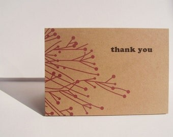 Red Winter Berry Thank You Cards - Kraft Paper Thank You Notes Red Botanical Collection, Red Winter Berry Branches, Seasonal Thank You Notes