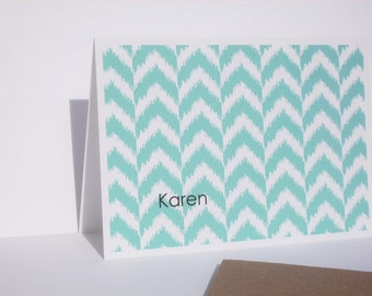 Personalized Note Cards - Geometric Stationery Set, Modern Ikat Design Note Cards, Chevron Arrows Mod Teal Blue Pink Grey Thank You Notes