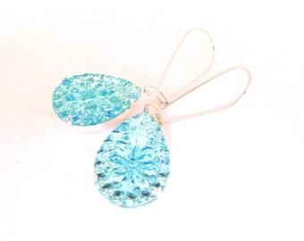 Frozen Teardrop Earrings, Vintage Crystal Aqua Glass in Gold Settings, Dangle Style