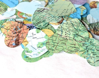 Large Vintage Map Heart Confetti