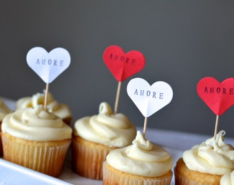 AMORE Heart Cupcake Picks, 12 hand stamped toppers - the ORIGINAL handstamped hearts in vintage, white, pink or red