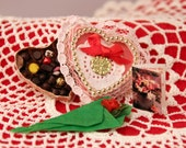Miniature Heart Box Chocolates Valentine Dollhouse Rose