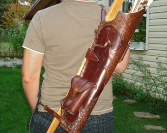 Hand Tooled Multifunctional Medieval Leather Quiver for Broadhead Arrows with Knife Pockets