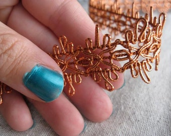 metallic COPPER flower burst braid trim