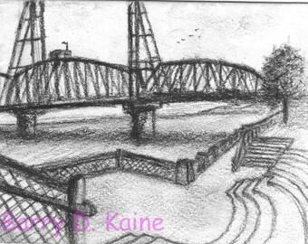 Hawthorne Bridge charcoal drawing 647 print