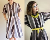 Black and Gray 80s Chevron Striped Dress